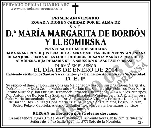 María Margarita de Borbón y Lubomirska